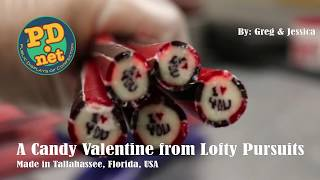 "#71 ""I love you"" in hand made Victorian candies for Valentines Day"
