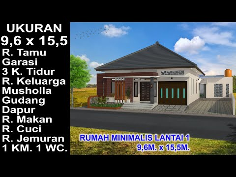 Desain Lantai Garasi Rumah Minimalis  modern house 9 6x15 5 3 k tidur desain rumah minimalis