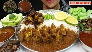 Asmr Fish Head Curry, Fried Small Fish masala, Fried Okra eating with Rice