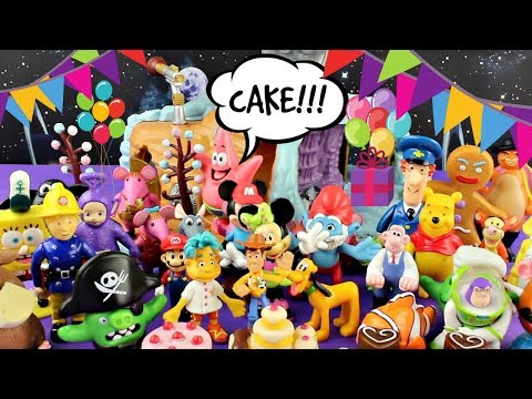 Clangers invite their friends for cake - Postman Pat, Winnie the Pooh, Sponge Bob and lots more.