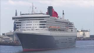 1080p Queen Mary2 & M/S Deutschland wunderschönes auslaufen im Hamburger Hafen (Horn) 16.06.2019
