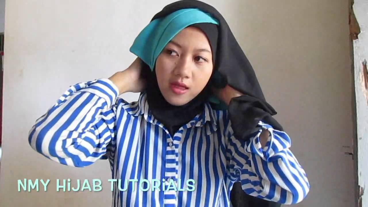 Tutorial Hijab Segi Empat Paris 2 Warna Untuk Pesta Kondangan
