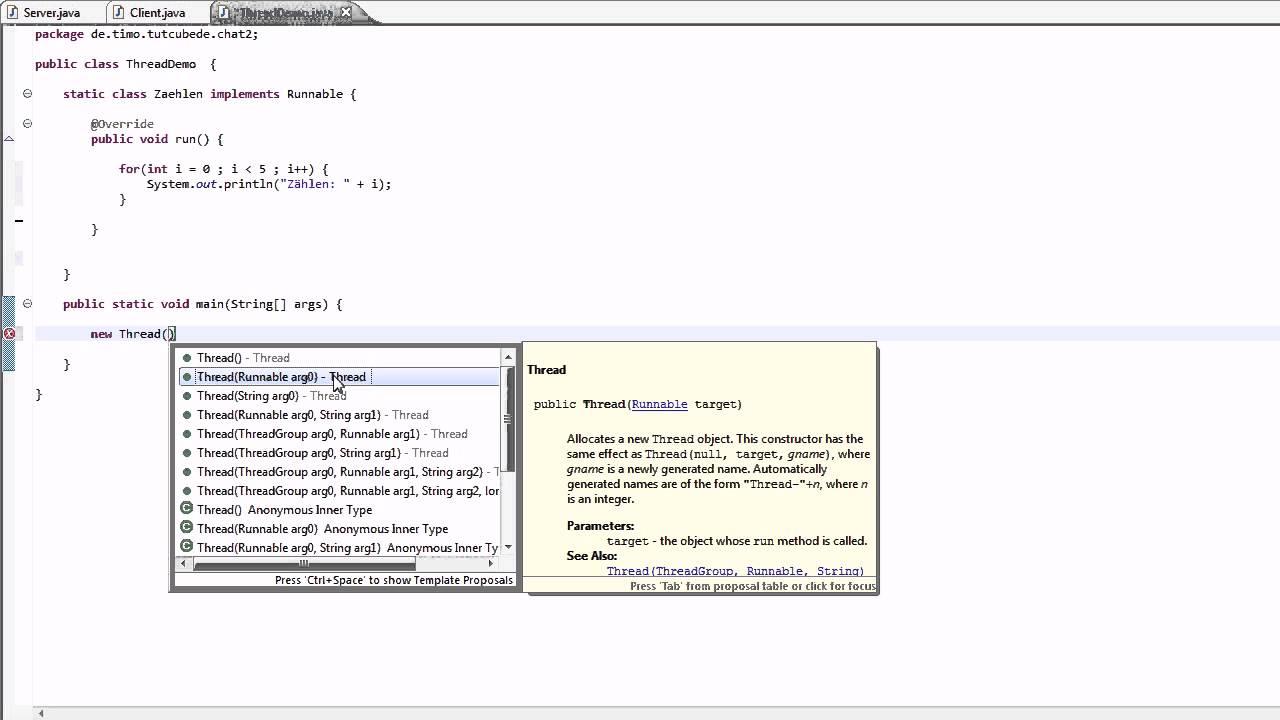 Java - Threads (Runnable) Chat #5 [TuTCube] [GER]