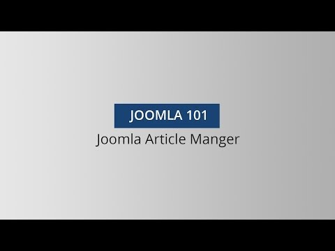 Joomla 101 - Article Manager