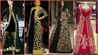 Affordable Trendy & Attractive Embroidered Long Jackets Dress Desiging Idea's 2019