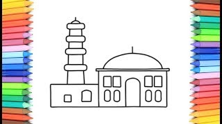 Coloring Mosque 💜💖 Painting for toddlers and drawing for kids