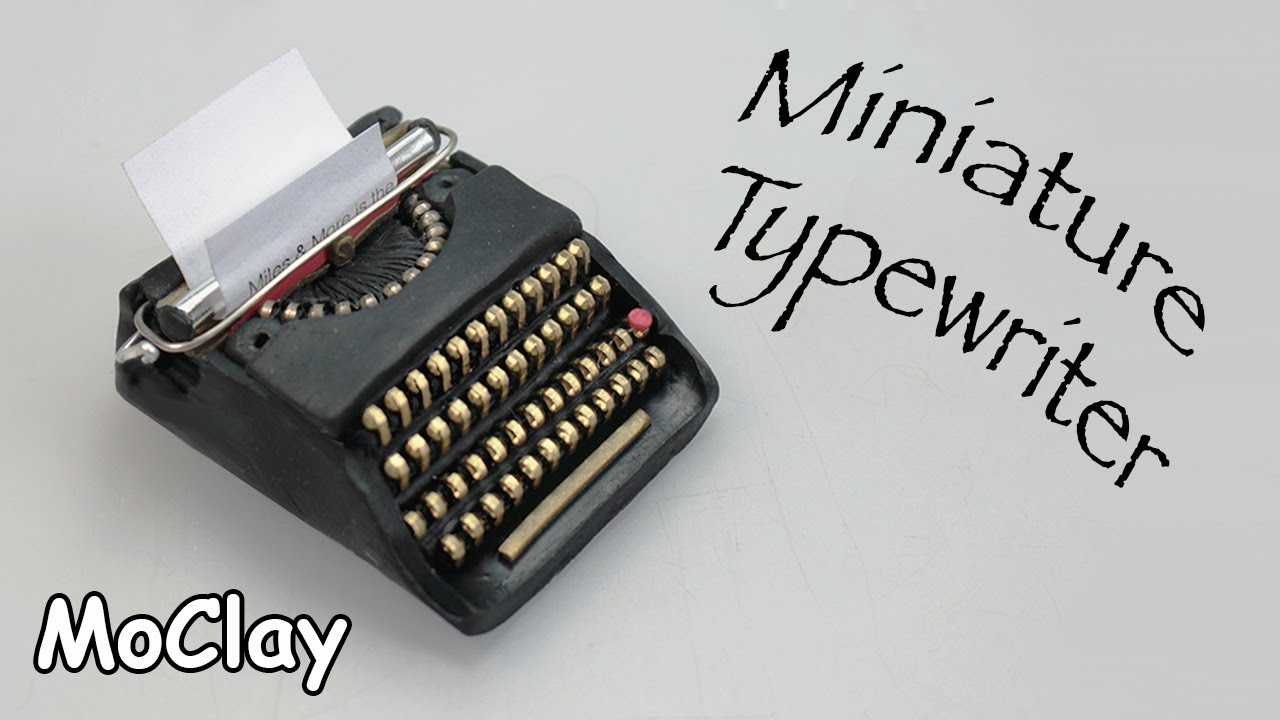 diy dollhouse miniature typewriter. polymer clay tutorial - youtube