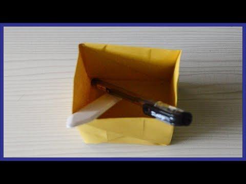 How To Make A Paper Pen Box - Origami Pen Box - Paper Activity