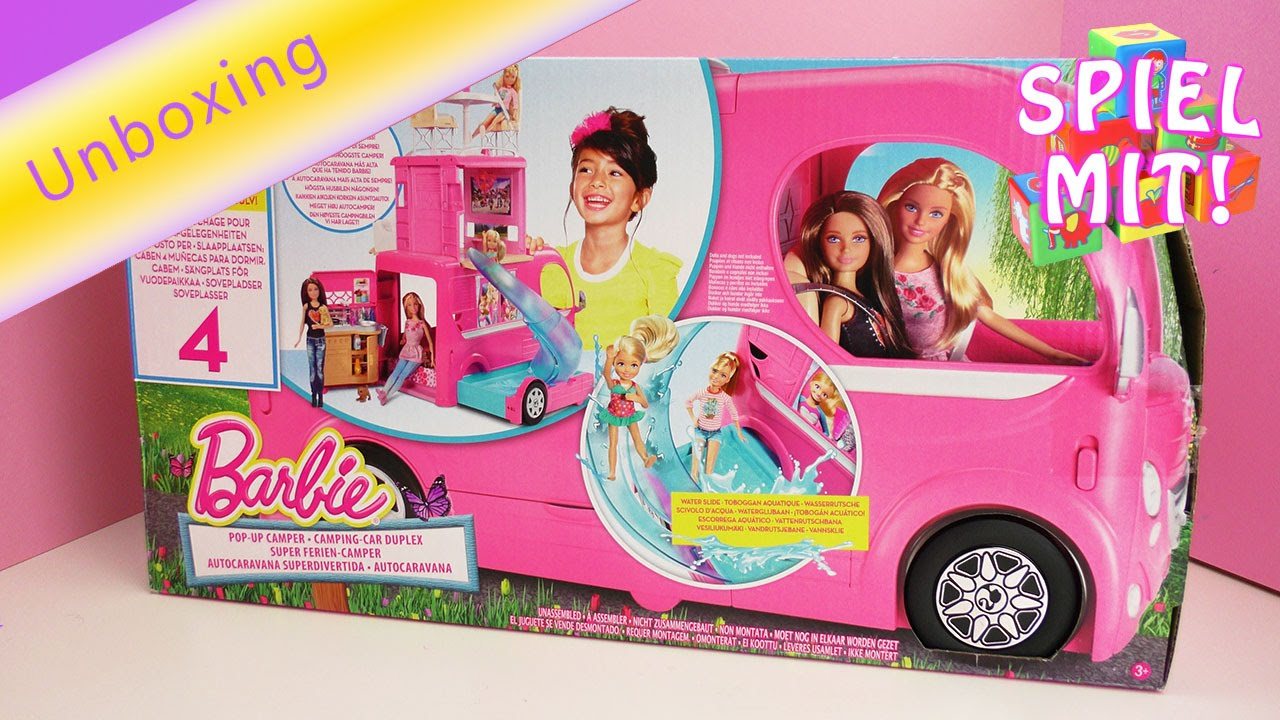 barbie ferien camper wohnmobil f r puppen mit k che bett. Black Bedroom Furniture Sets. Home Design Ideas