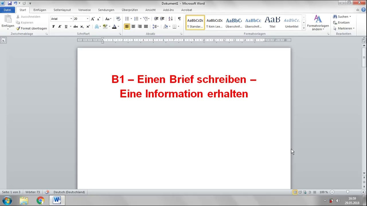 Deutsch B1 Einen Brief Schreiben Eine Information Bekommen Youtube