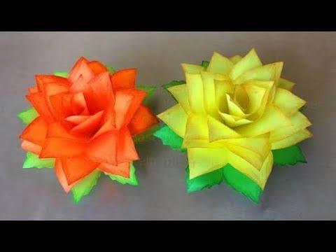 Paper Flowers Rose Diy Tutorial Easy For Children Origami Flower Folding 3d For Kids For Beginner