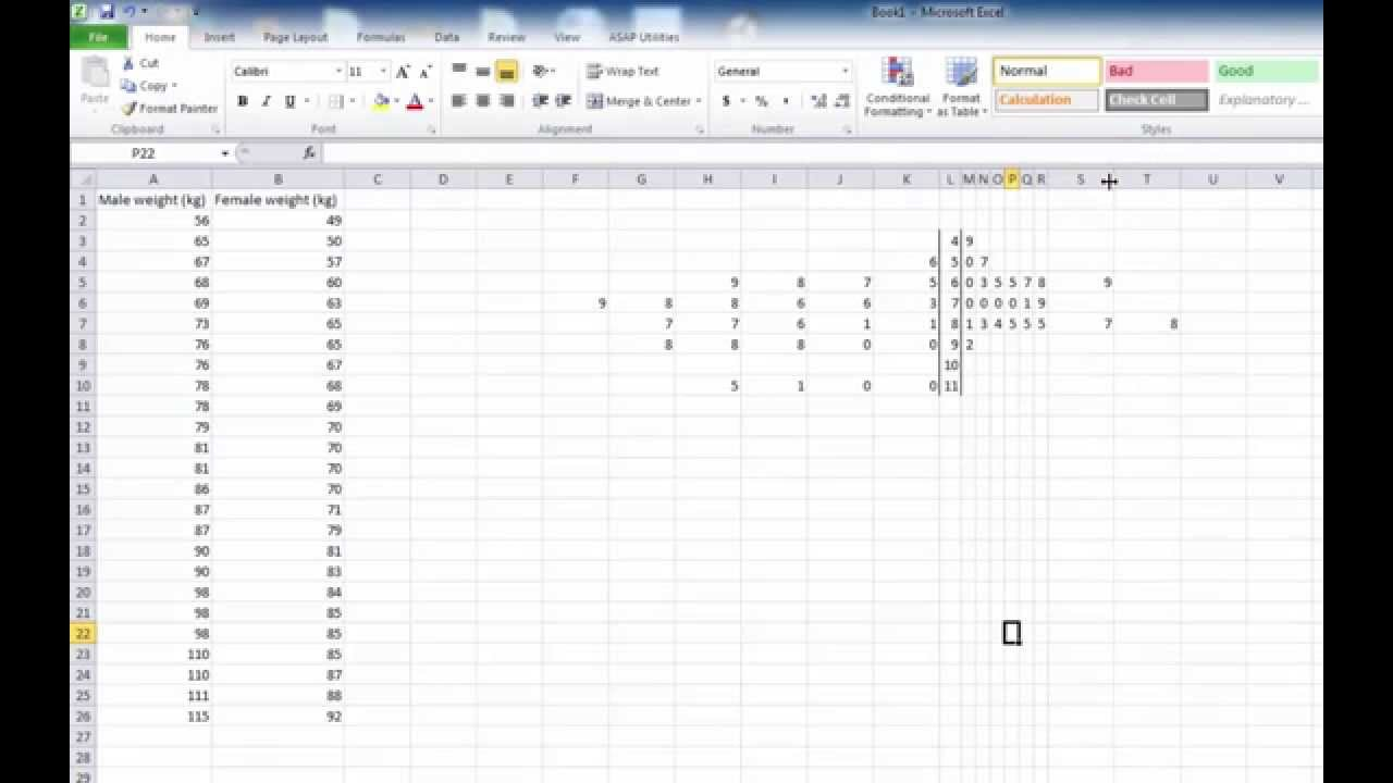 Excel make a stem and leaf plot youtube for Stem and leaf plot template