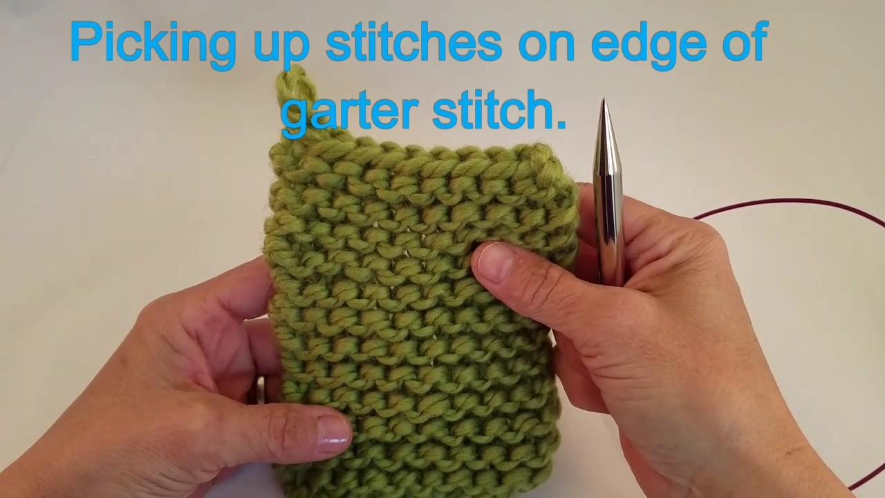 Picking up stitches on garter edge. - YouTube