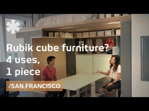 Rubik cube flat flips office, storage, dining & bedroom in SF
