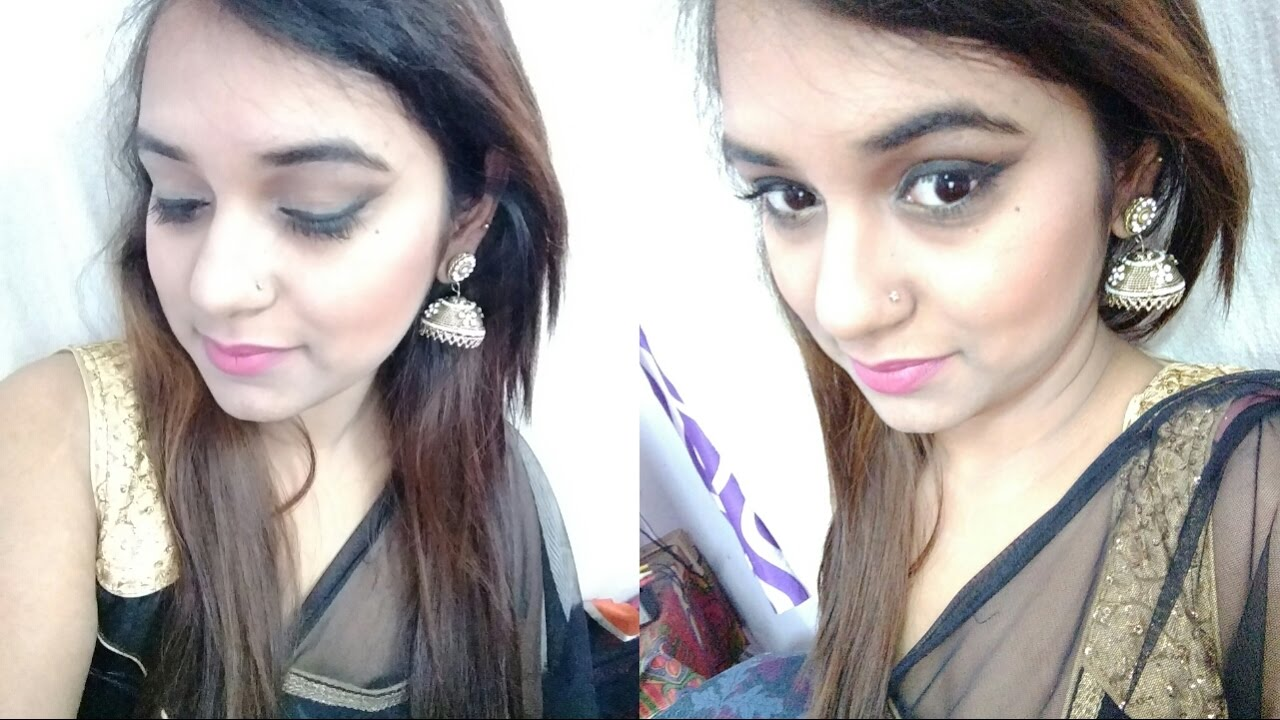 party wear makeup look|| indian nude makeup ||makeup for black saree ...