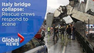 Italian rescue crews respond to Genoa bridge collapse