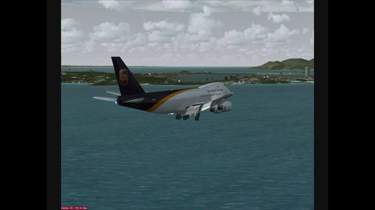 ss fsx pmdg 747 400 ups manual vfr landing at tncm rw9 st maarten rh youtube com Delta Airlines Landing Delta Airlines Landing
