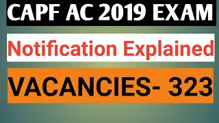 CAPF Assistant Commandant 2019 NOTIFICATION OUT 323 VACANCIES