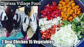 TWO (2) DESI CHICKEN WITH FIFTEEN (15) DIFFERENT VEGETABLES [ Desi Chicken And VEG Gravy ] T- RECIPE