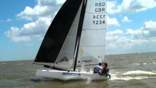 Catamaran f18 at tbyc flying in 25knots southend on sea