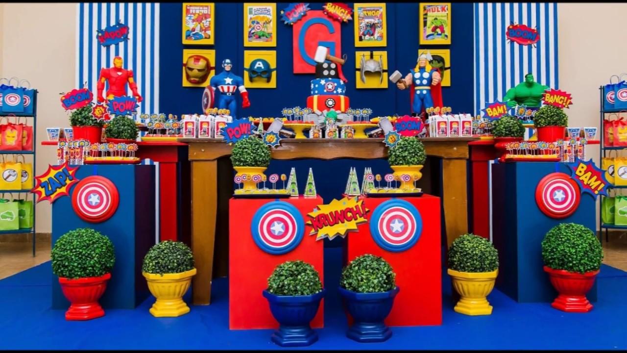 Idéias de Decoraç u00e3o de Festa Tema Os Vingadores YouTube -> Decoração De Festa Os Vingadores