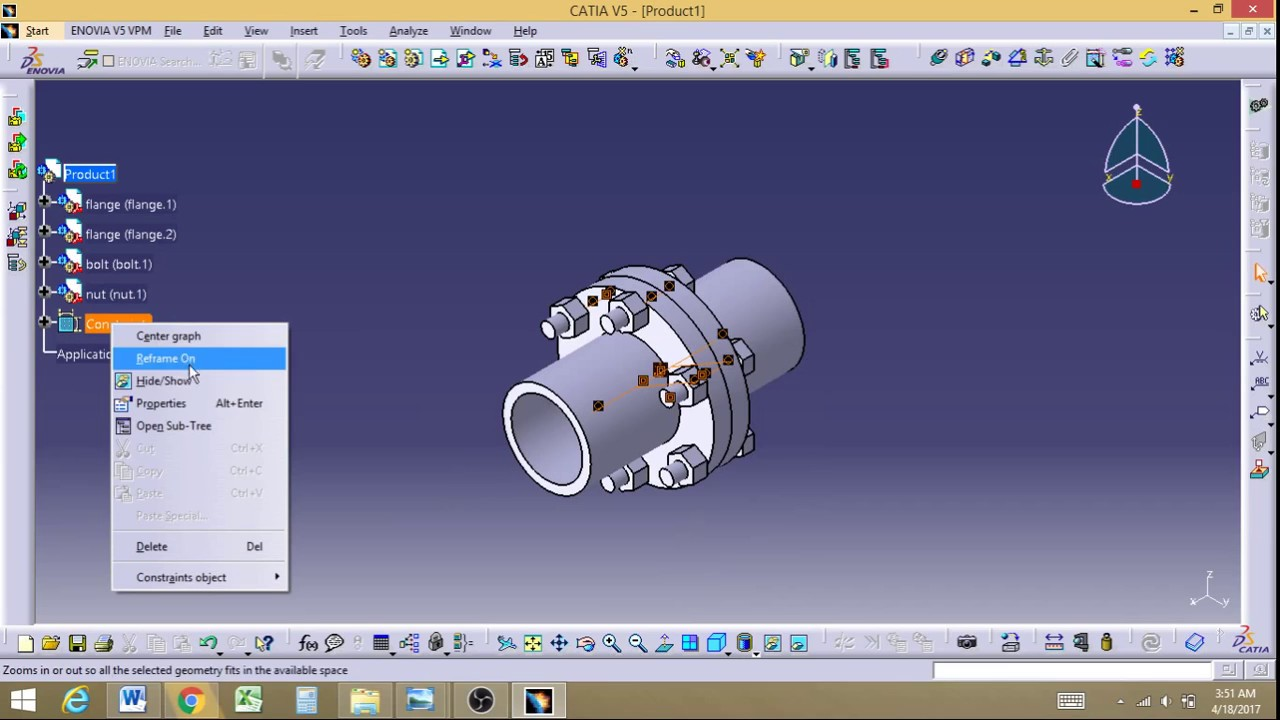 Flange Coupling Designing And Assembly In Catia Youtube