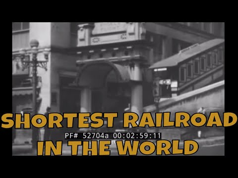 """""""SHORTEST RAILROAD IN THE WORLD"""" LOS ANGELES ANGEL'S FLIGHT FUNICULAR 1940s"""