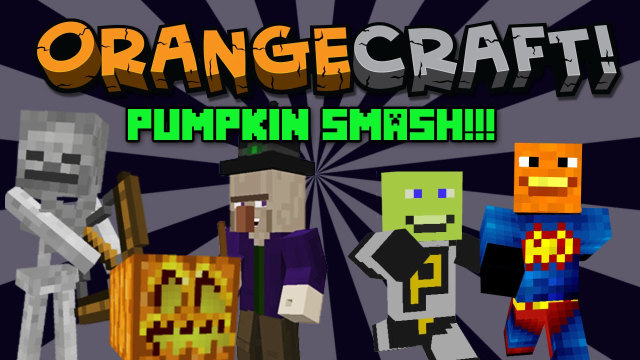 Annoying Orange Let's Play Minecraft - PUMPKIN SMASH HALLOWEEN MINIGAME!