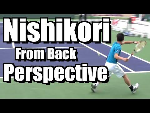 Kei Nishikori Points from Back Perspective - Forehand Backhand - BNP Paribas Open 2013