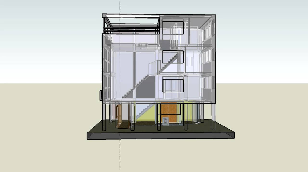 Corbusier maison citrohan 3d sketchup youtube for Sketchup plan maison
