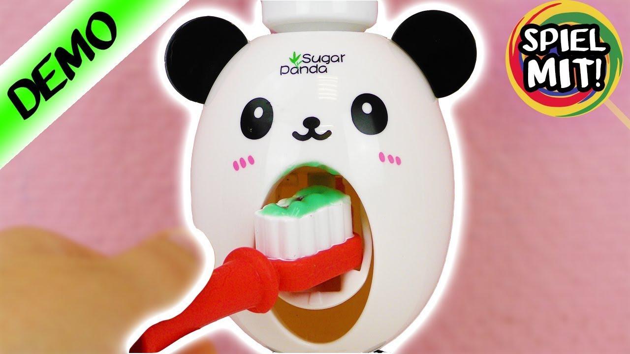 panda kinder zahnpasta spender richtig z hne putzen mit s em b ren zahnpflege spielend. Black Bedroom Furniture Sets. Home Design Ideas