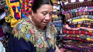 Lidia Lopez Explaining the Meanings of the Patterns on a Huipil from Patzicia. Travel Video