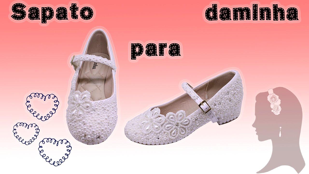 30b4b9ebe Sapato para daminha de honra - YouTube