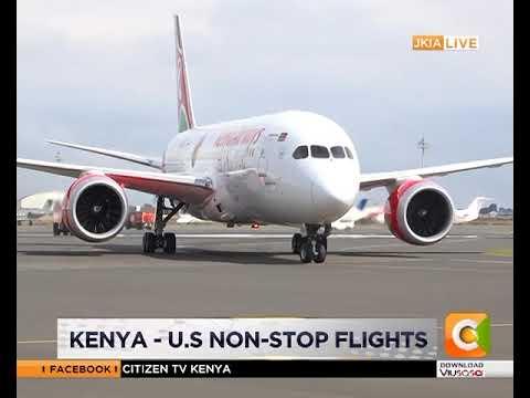 Kenya Airways flight 003 arrives at JKIA, Nairobi from JFK International airport, New York