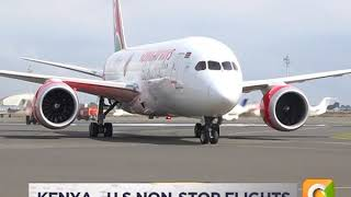 Kenya Airways flight 003 arrives at JKIA, Nairobi from JFK International airport, New York