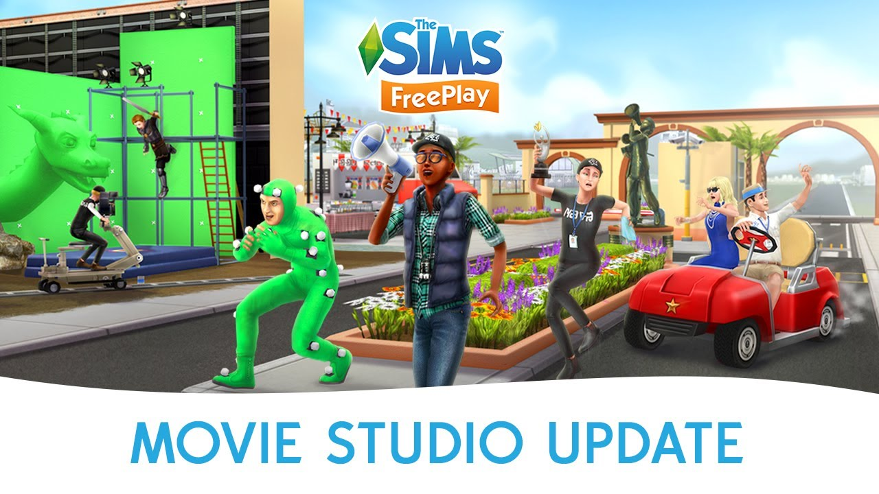 the sims freeplay movie studio update official trailer. Black Bedroom Furniture Sets. Home Design Ideas