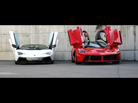 Wallpaper Carros Hd Ferrari Laferrari Vs Lamborghini Aventador Comparison