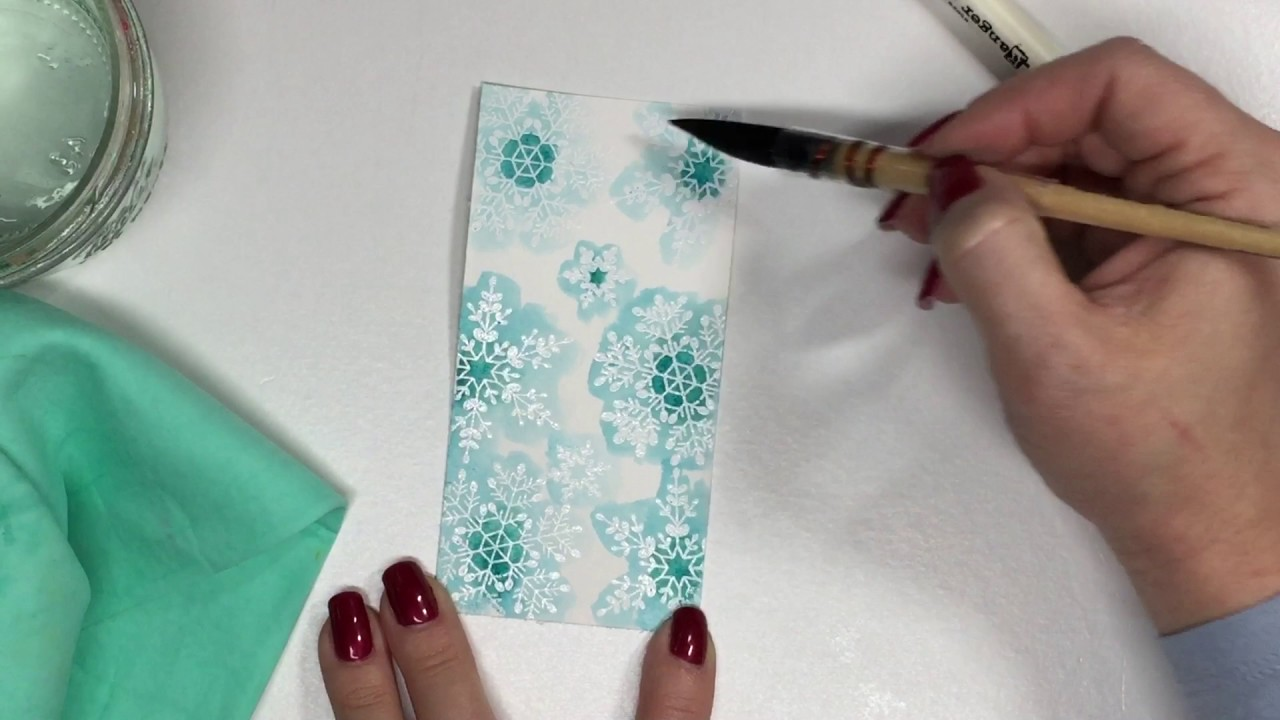 Inspired by Stamping Watercolor Snowflake Paper Tutorial - YouTube