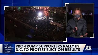 Hundreds of Donald Trump supporters rally to protest election results