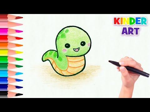 Как нарисовать змею карандашом поэтапно для детей