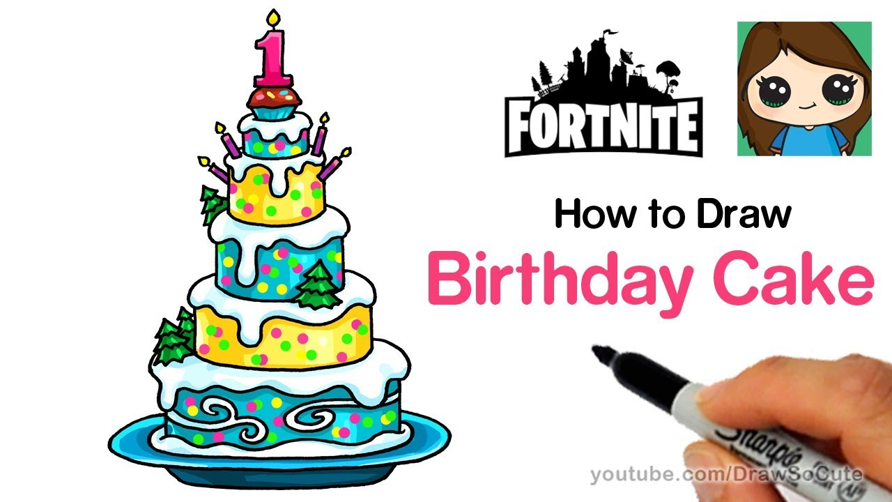 How To Draw The Fortnite Birthday Cake Easy Youtube