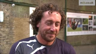 Ryan Sidebottom on a glorious day as he takes 700 first-class wickets