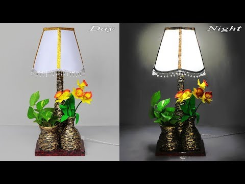 Flower Vase into Lamp with plastic bottle // how to make paper table lamp