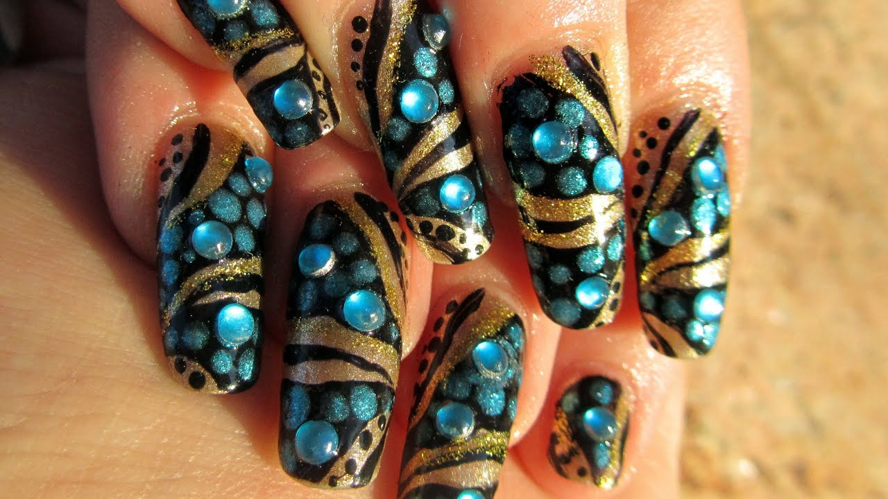 Egyptian Cleopatra Nail Art And Make Up Tutorial Collaboration Youtube