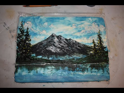 Marshmallow Canvas Edible Painting with Icing using the Wet on Wet Technique