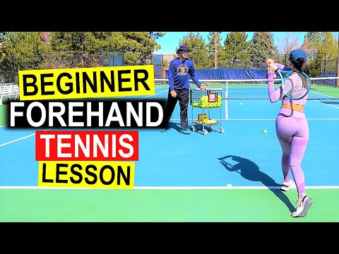 Beginner Tennis Lesson | Forehand Technique with Chelsea
