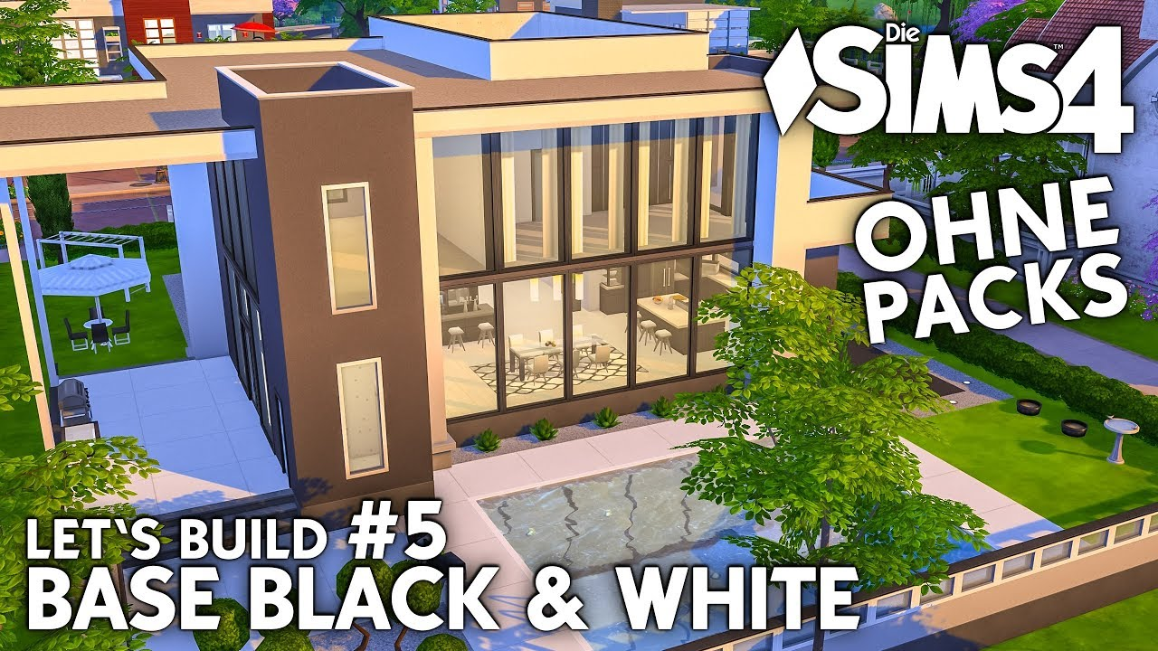die sims 4 haus bauen ohne packs base black white 5 pool au enbereich deutsch youtube. Black Bedroom Furniture Sets. Home Design Ideas