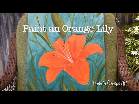 Paint a Lily in acrylics Large Canvas painting (beginner painting lesson)