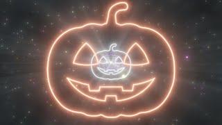 Spooky Pumpkin Halloween Shape Neon Lights Tunnel Moving in Night Sky 4K Motion Wallpaper Background