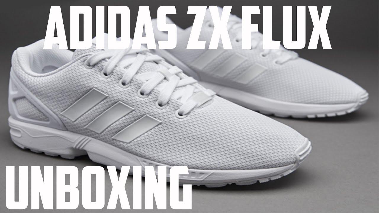 8c9605ac0e03 Adidas ZX FLUX Triple White Unboxing - YouTube